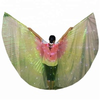 Bestdance Belly Dance Multicolor Isis Wings+White LED Lights Egyptian Parade Costume 1#