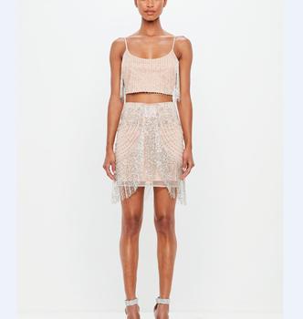 4cc80ad75b Bodycon High Waisted Skirt Shein Woman Fashion Designer Ladies Skirts Nude  Beaded Silver Fringe Tassels Tight