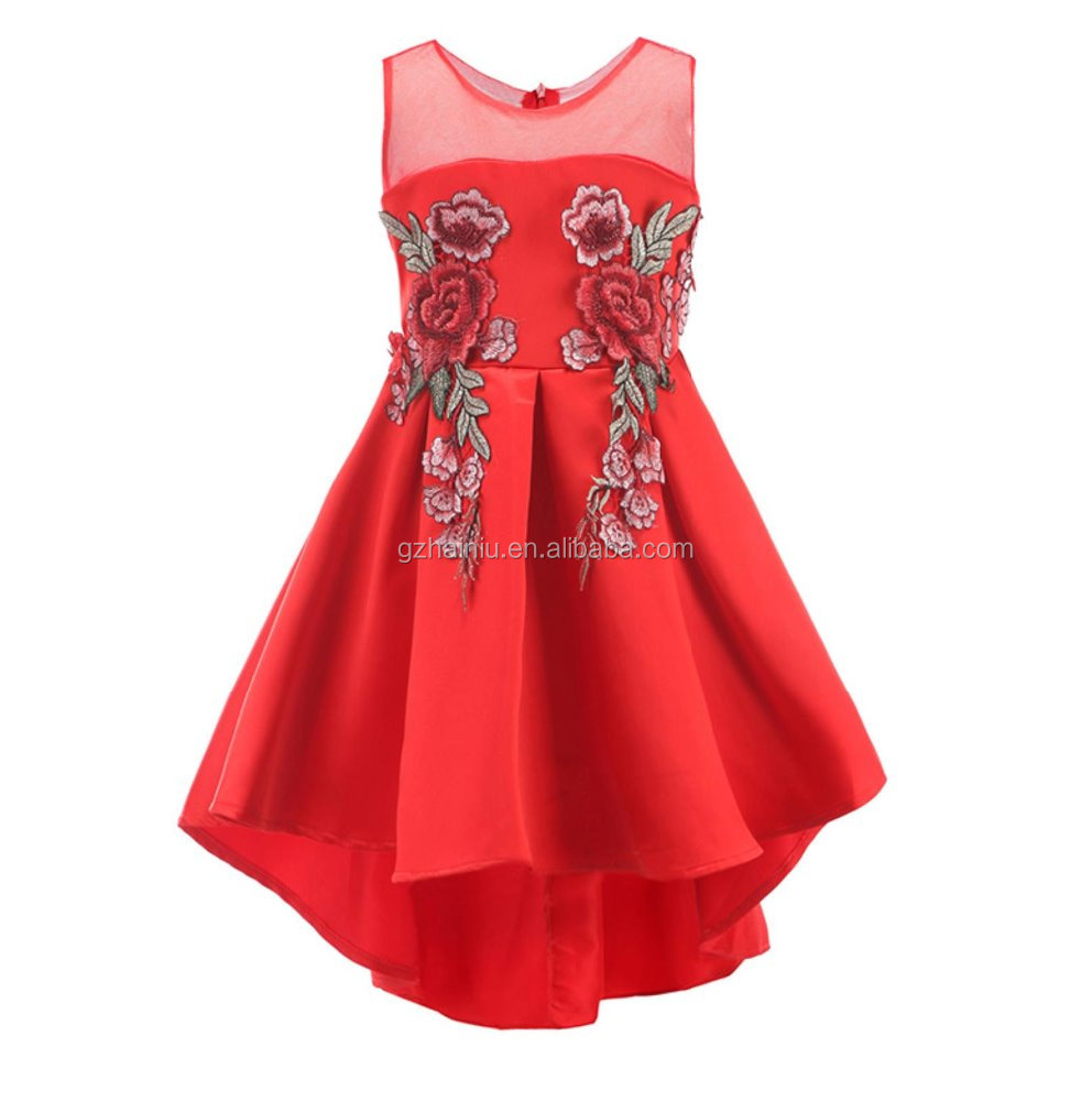 Long New Styles Pattern Stand Out Dresses For Girls Party Pattern Embroidery School Show Wear China