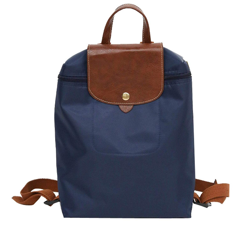 ZOMUSAR Unisex Backpack Leisure Travel Nylon Zipper Bag Solid Student Folding Shoulder Bag