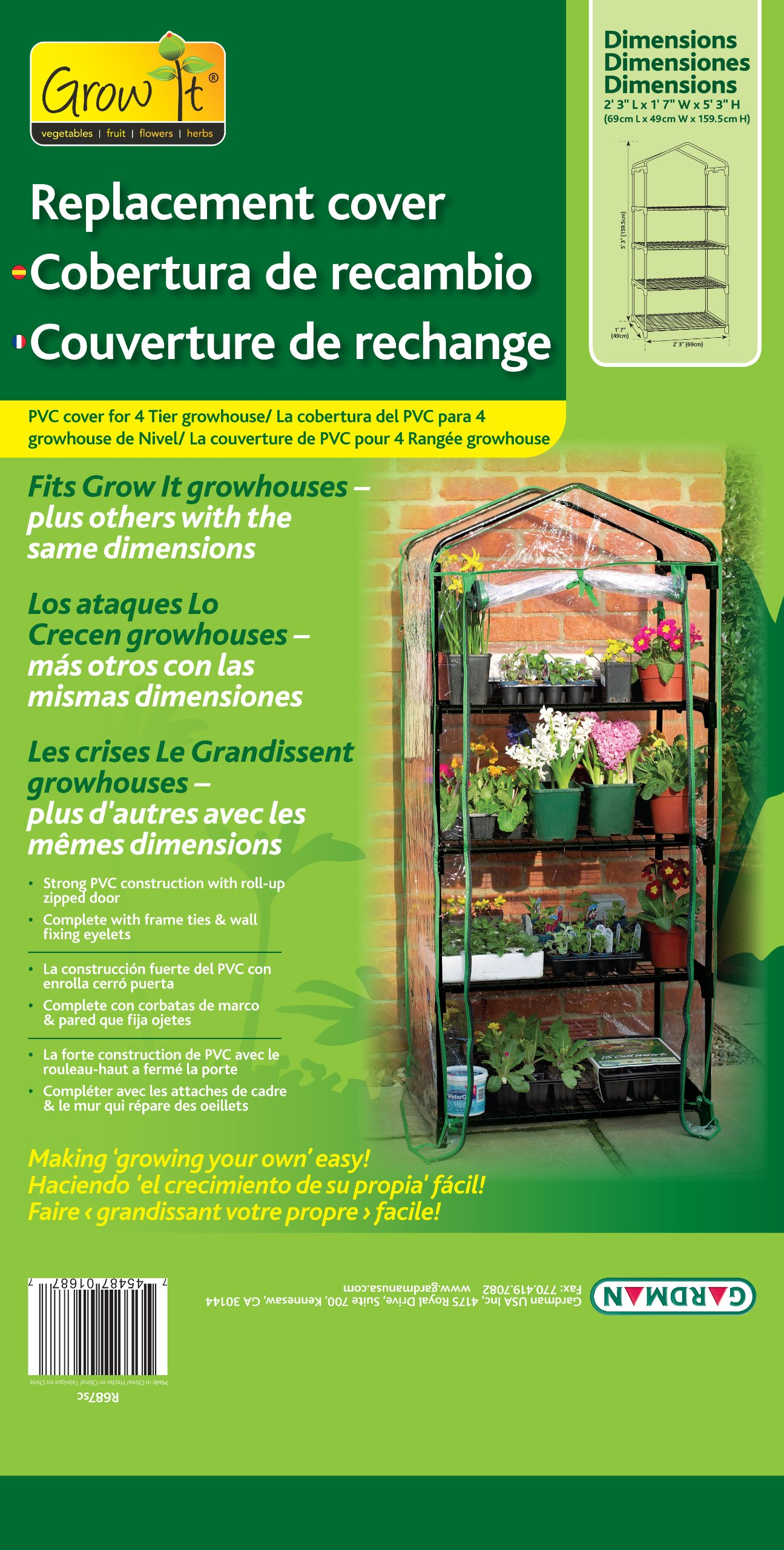 Gardman R687SC Replacement Cover for 4-Tier Mini Greenhouse