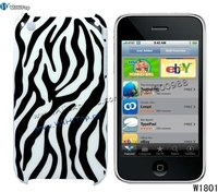 Color Black. Red, Pink. Zebra Case for iPhone 3Gs. Back Cover for iPhone 3Gs.