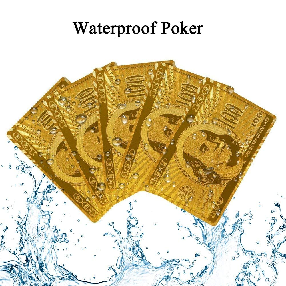 Gold Poker, JUJUCC Waterproof Gold 54 Playing Cards with 24k Gold Foil Plated Cover for Water Table Games