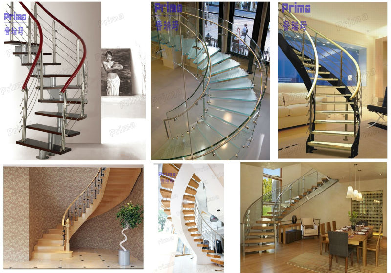 Modern stainless steel cable railings interior glass for Round staircase designs interior