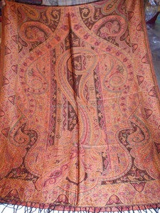 Large Jamawar Wool Women Shawl Floral Crewel Embroidery