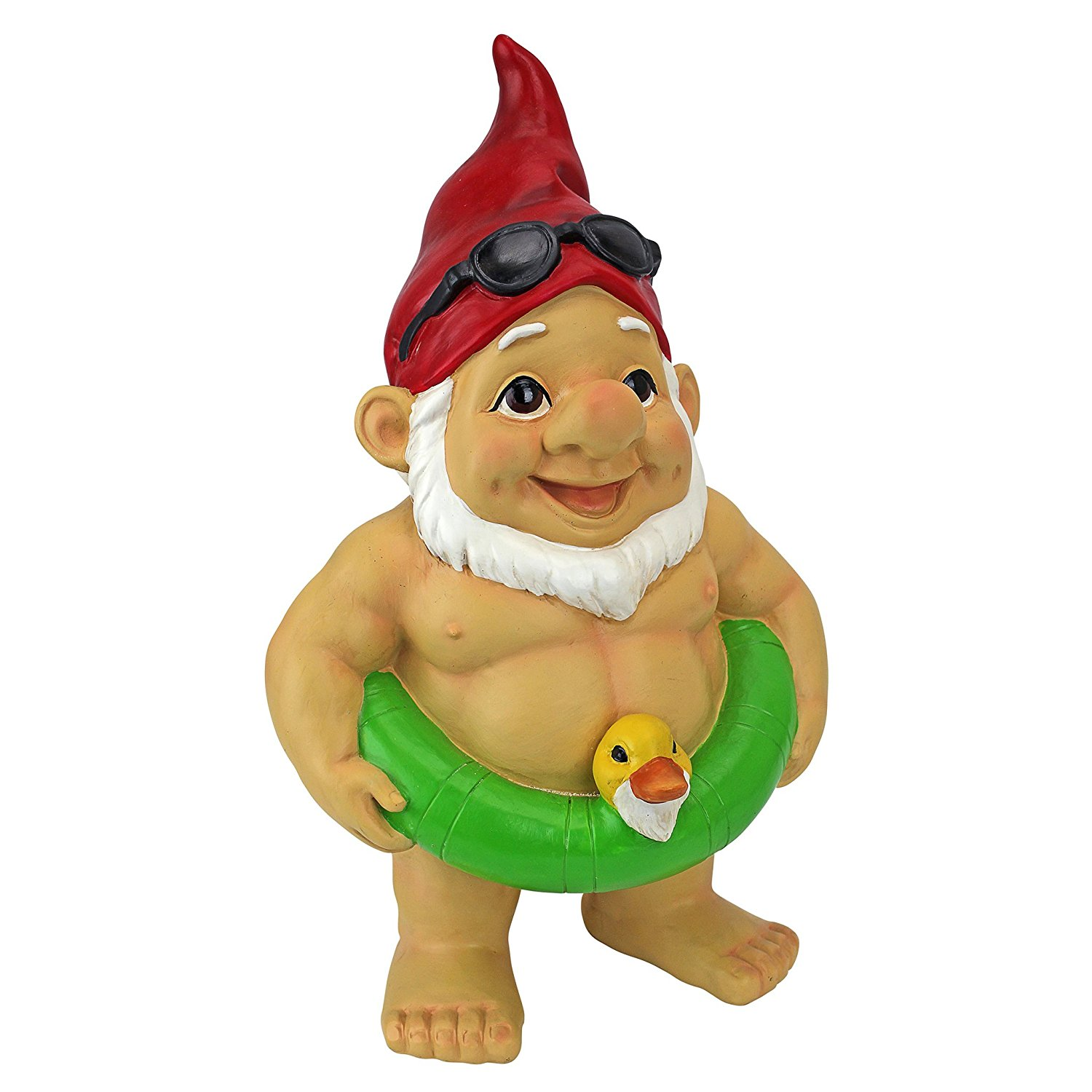 Garden Gnome Statue - Pool Party Pete Naked Gnome - Outdoor Garden Gnomes - Funny Lawn Gnome Statues
