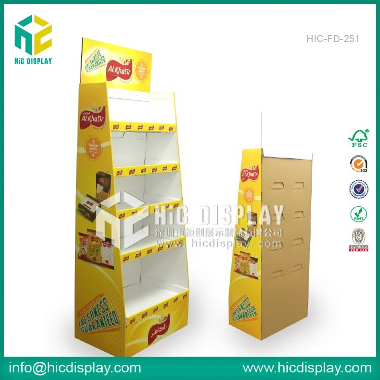 HIC riser display step, three tiers cardboard floor display shelf