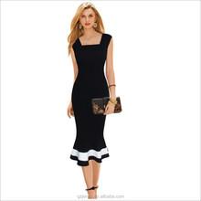 2016 Sexy Women Black Elegant Fishtail Dress Evening Bodycon Mermaid Dress