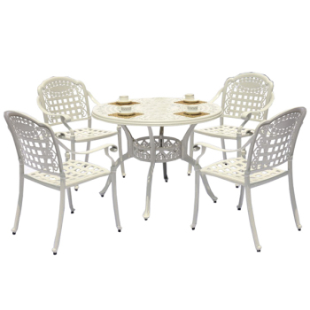 Amazing Cast Aluminum Frame Patio Chairs And Round Table Outdoor Patio Furniture Sets 5Pcs White Aluminium Cast Chair Buy White Aluminium Cast Chair Cast Download Free Architecture Designs Ogrambritishbridgeorg