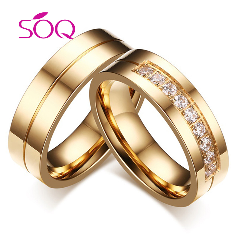 Valentine's day Gift 18k Gold 316L stainless Steel Diamond Wedding Ring for Couples