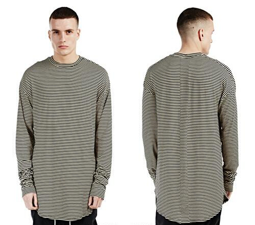 striped thumb holes t shirt extended oversized long sleeve