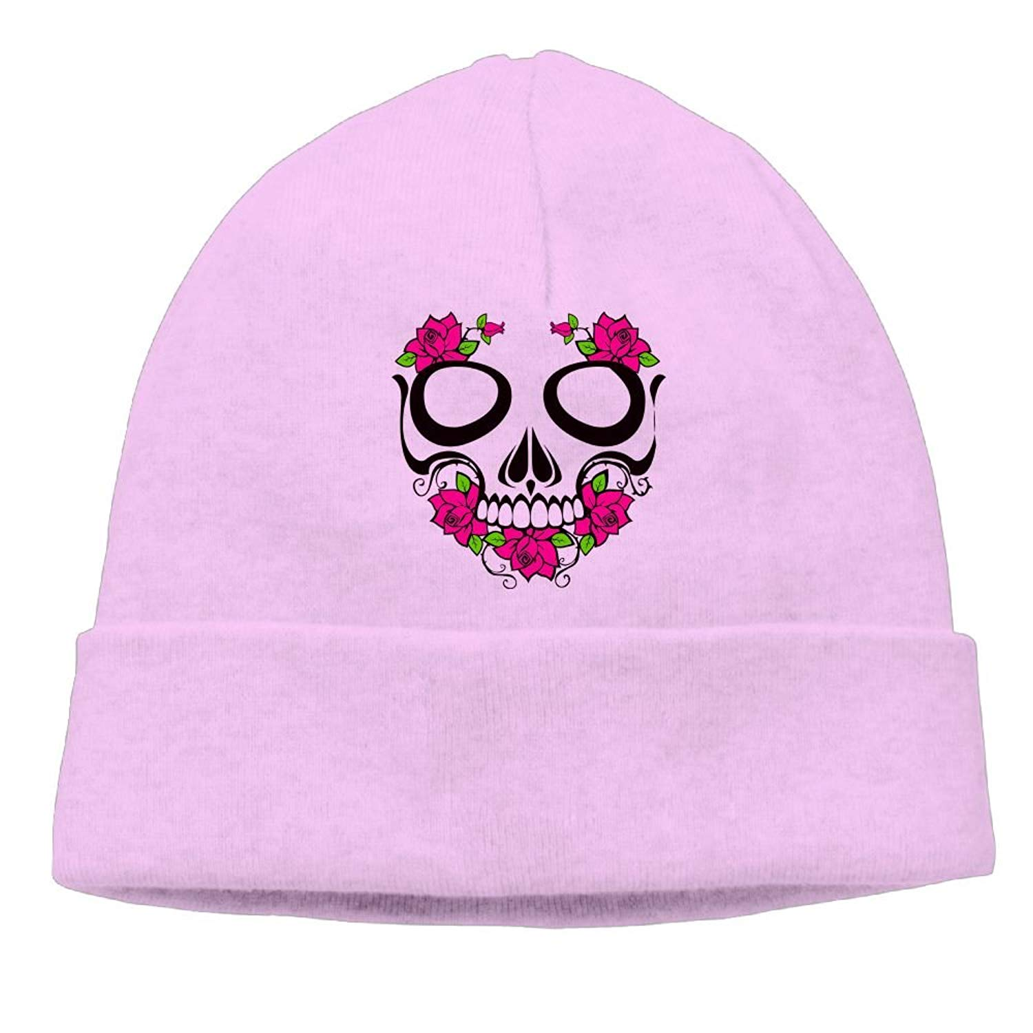 880b5644ad7 Get Quotations · Ddgf1 Cap Flower Pink Sugar Skull Men Warm Knit Beanie Hat  Skull Cap