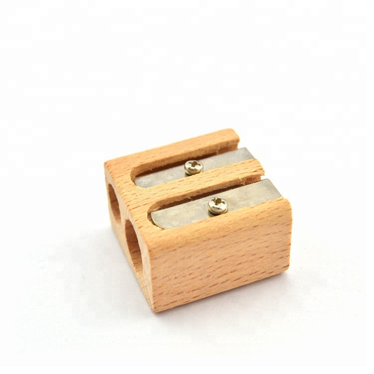Morezhome настроить логотип Экологичные двойные отверстия Деревянный плотник точилка для карандашей