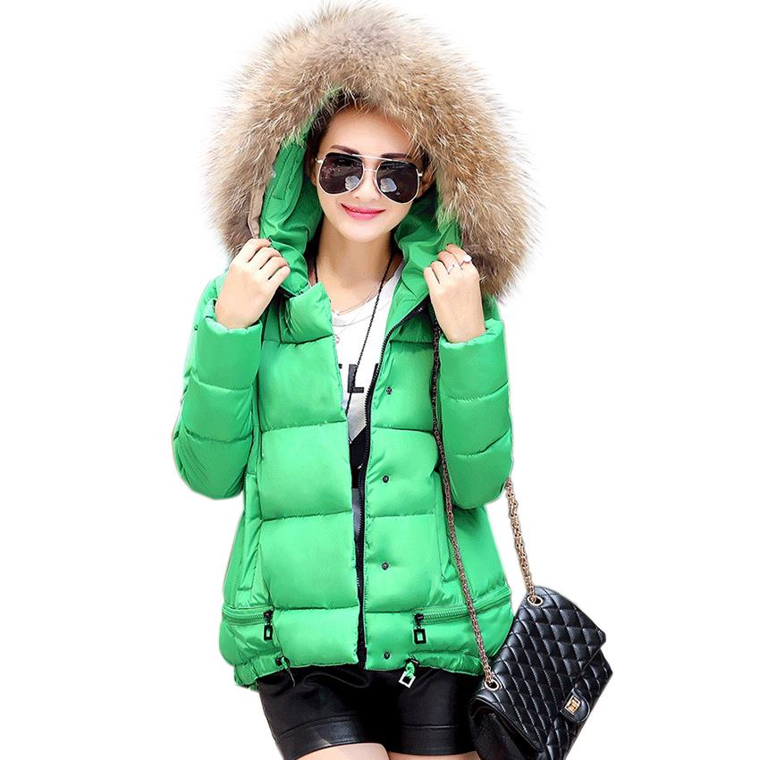 Fur Collar Hooded Thick Winter Jacket Women Warm Coat Parkas 2015 Ladies Pockets Wadded Down Casual Coats Padded Mujer Pluma