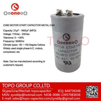250v Cd60 Motor Starting Capacitors With 450 Uf Mfd 250vac - Buy 250v Cd60  Motor Starting Capacitors,Motor Capacitor Cbb60 150uf 250v,Motor Start
