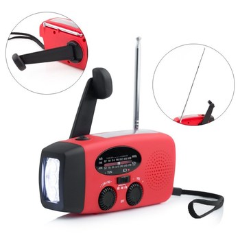 Portable Emergency Solar Hand Crank FM Radio With Flashlight Charger