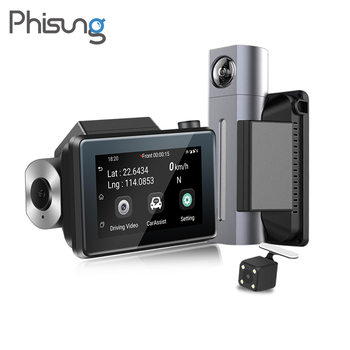 Phisung 3G Android GPS dash came Dual lens car dvr with WDR 3.0in IPS screen RAM 512MB ROM4GB G-Sensor Loop recording