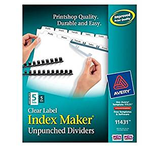 Avery® Index Maker® Professional-Quality Look Clear Label Dividers With White Tabs (Unpunched(5-Tab) Pack Of 5)