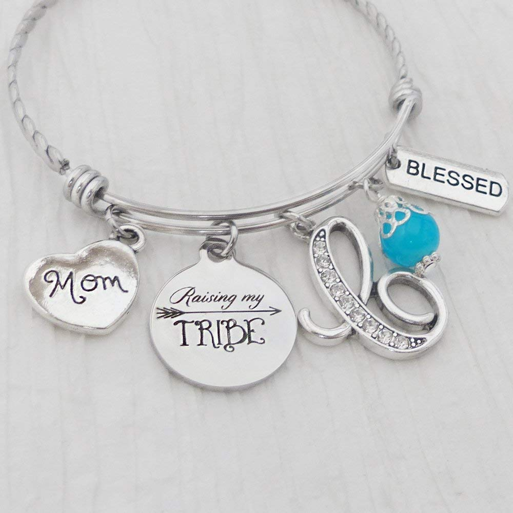Get Quotations Raising My Tribe Bracelet Bangle Mom With Charms Initial Letter Charm