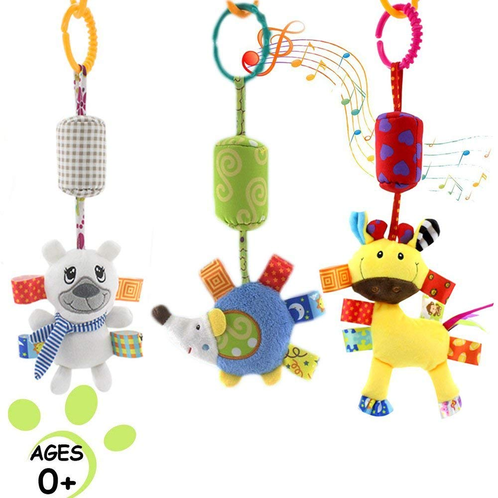 Daisy 3 Packs Infant Baby Rattle Hanging Toys, Stroller Car Seat Crib Hanging Rattle Toy with Wind Chimes for Toddler, Early Education Gift for Baby Boys & Girls- (Bear, Deer, Hedgehog)