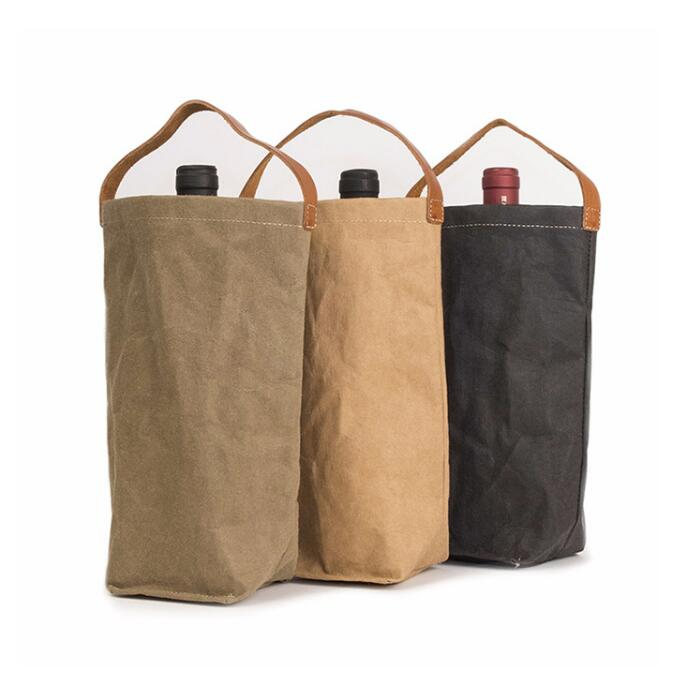 Promotional Customized Logo Champagne Red Wine Beer Bottle Holder Storage Drink Cooler Waxed Canvas Tote Wine Bag With Handle