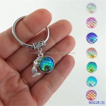 Wholesale Mermaid Keychain Women Fashion Jewelry Hot Selling Silver Plating  Acrylic Fish Scale Keychains d719cc9b7f