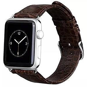 The Best Gift,Crocodile Classic Genuine Leather Series Watchband Replacement Strap Classic Apple iWatch Wrist with Stainless Steel Buckle for Apple Watch 38mm Brown