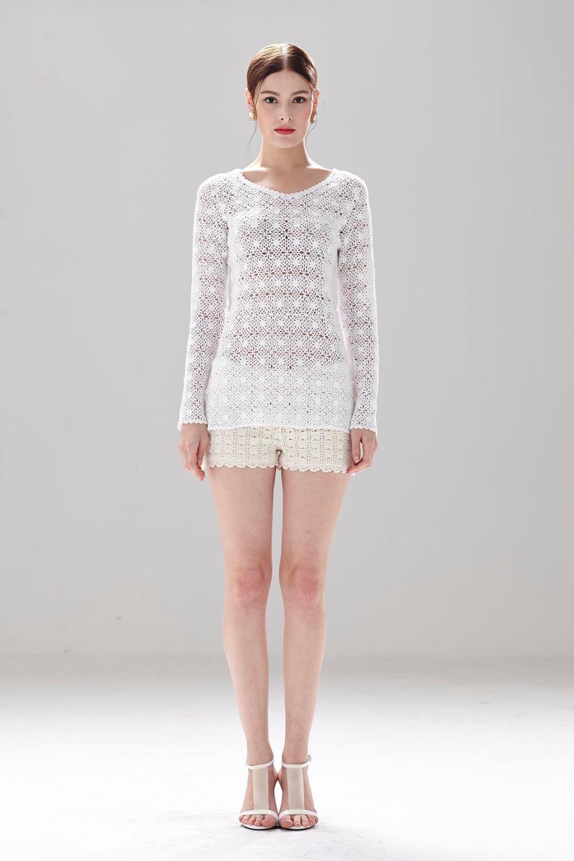 V-cuello Blanco Señoras Crochet Blusas Largas Con Patrón De Girasol ...