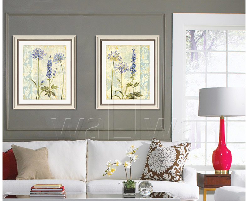 Purple flower wall frog Fang American box sofa bedroom living room dining  study painting paintings decorative mural painting - us538 37b4fbeb6ce