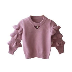 Wholesale New Designed Jingpin Beautiful Children Pullover Knitwear Fancy Little Girls Sweater