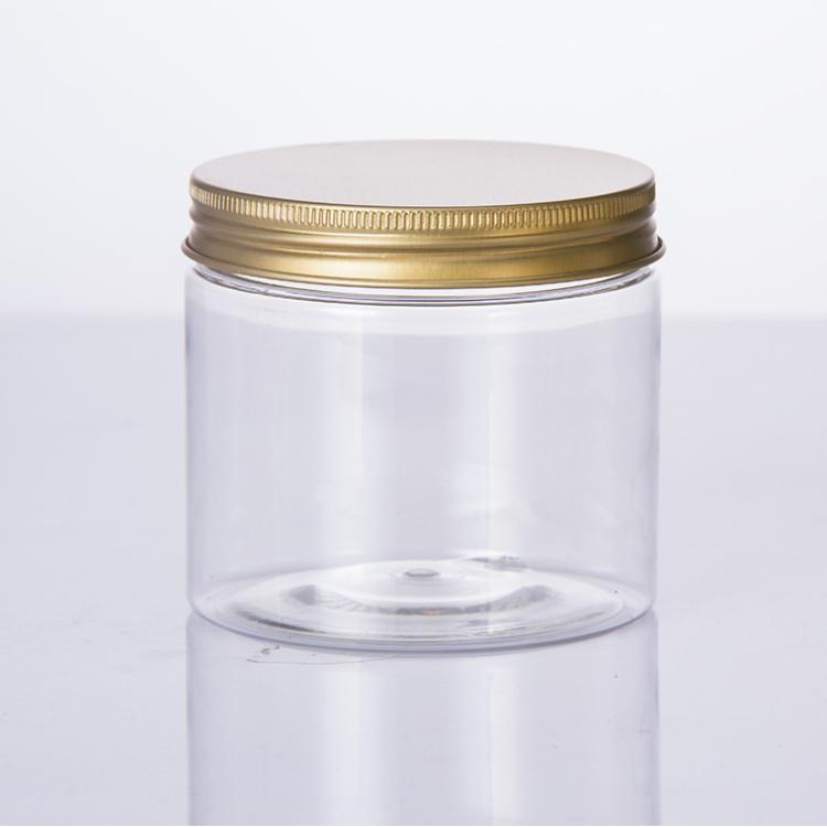 Leere kunststoff PET gläser für lebensmittel oder kosmetik mit schraube kappe oder aluminium kappe