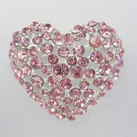 Delicate cheap Light Rose Rhinestone Heart Brooch for wedding bridal Wedding invitation cards in bulk