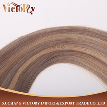 8A Grade High Quality Super skin weft/Tape in hair Blue color #P18/22 Double drawn Brazilian Human Hair Extension