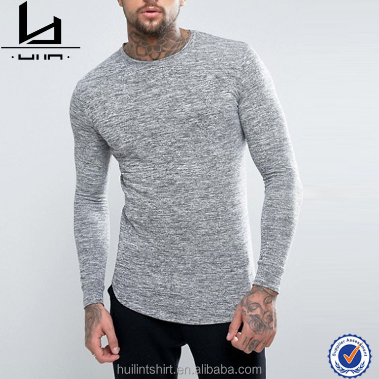 Mens Fitness Apparel Knitted Long Sleeve Light Grey Quality T-shirts