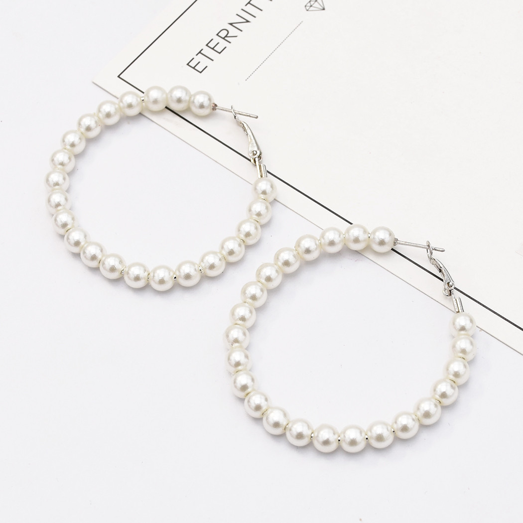 Fashion Korean Simulated Pearls Circles Drop Earrings For Women Bijoux Jewelry