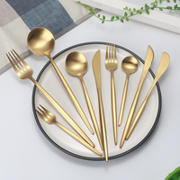 Egypt luxury metal stainless steel rose color plated cutlery set gold