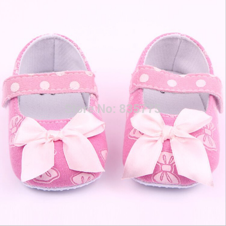 Sweet Mary Janes Pink Bow Princess Dress Shoes Newborn Baby Kids Prewalker Shoes Infant Toddler Girls Print Bow Anti-slip Shoes