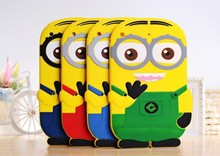 Free Shipping Cute 3D Despicable Me Minions Soft Silicone Case Back Cover For iPad Mini