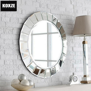 KOXZE Beveled glass mirror framed decorative mirrors for living room designs with install hooks