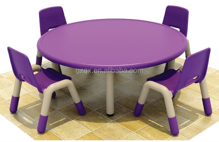Elegant Purple Color Plastic Chair And Round Table , Kids Homework Table ,  Kids Round Table