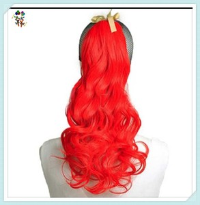 Womens Cosplay Fancy Dress Red Sexy Long Curly Ponytail Hair Extensions HPC-0139