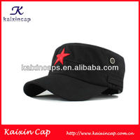 cotton custom military hat/cap/flat top army cap with embroidery red star logo/summer hat
