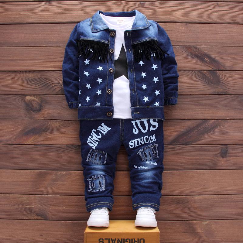 918a1dc16 Boys Clothes 3PCS Autumn Winter Clothes Set Star Printed Chaqueta + ...