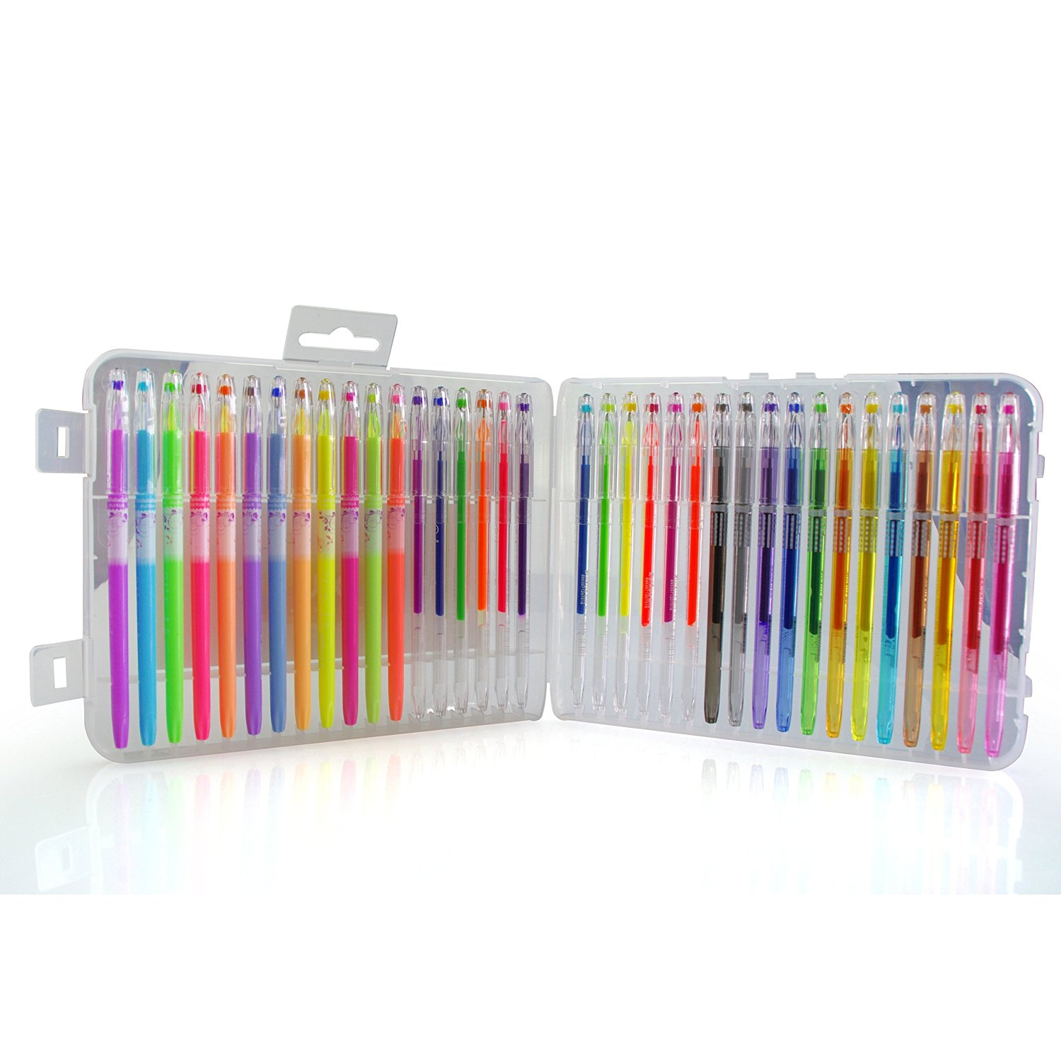 BFU Multi Colored Gel Pen Set with Case, Perfect for Drawing, Party Invites, Coloring, Writing and More, 0.8 - 1.0 mm Fine Point, Set of 36 (12 Glitter Pens, 12 Neon Pens and 12 Pastel Pens)