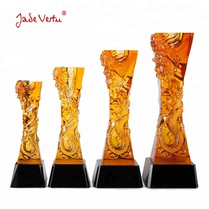 Pujiang pate de verre trophy custom crystal art glass trophy cup