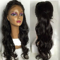 High Quality 6A 7A 8A Brazilian Virgin Wavy Glueless Full Lace Wig Human Hair Ponytail with Baby Hair