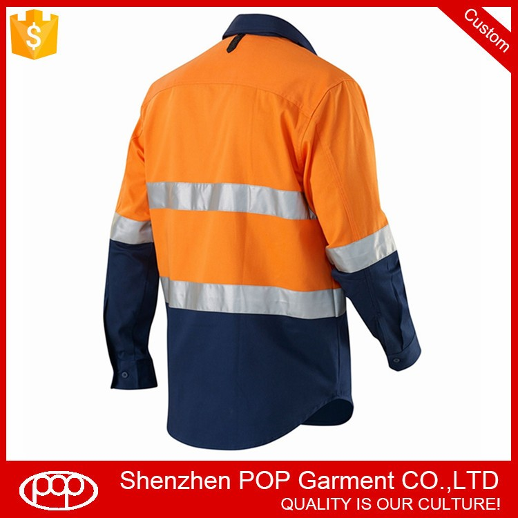 High Visibility Wholesale Long Sleeve Safety Cotton Shirt
