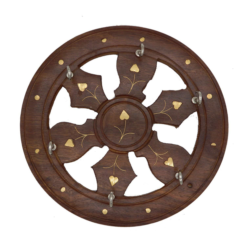 8 Inch Handmade Wooden Key Holder Wheel Shape, Wooden Key Holder with 6 Hooks, Key Organizer Wall, Decorative Key Holder for Home & Office