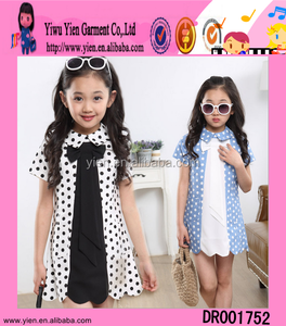 Fashion Big Necktie Pattern Overlap Collar Short Skirt Wholesale Custom Latest Baby Girls Frock Designs