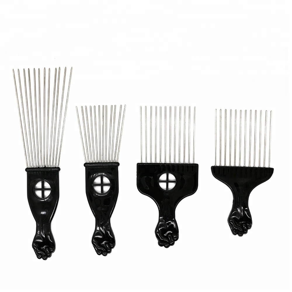 Popular Afro <strong>Combs</strong> Plastic Black Fist Metal <strong>Hair</strong> Fork <strong>Comb</strong> Stainless <strong>Steel</strong> Pins <strong>Hair</strong> Pick <strong>Comb</strong>